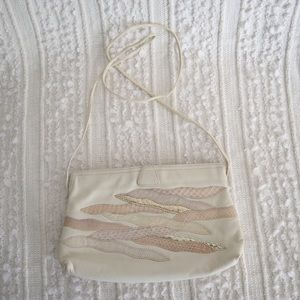 Vintage cream/ pink snap clutch or shoulder bag